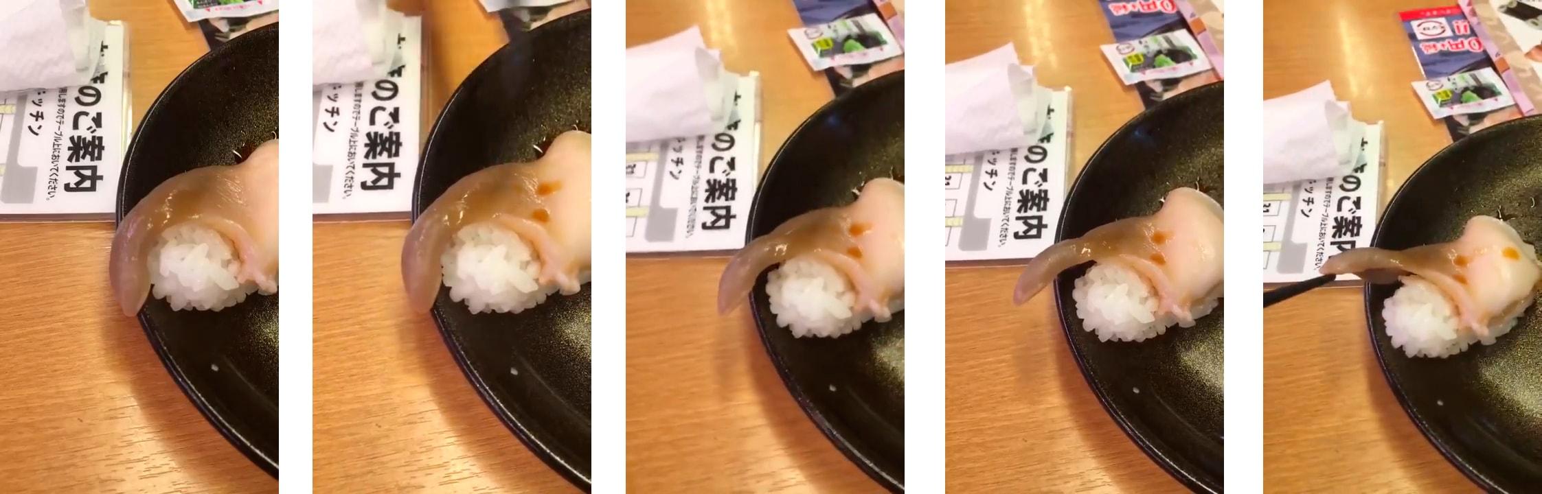 Очень свежие суши зашевелились прямо на тарелке посетителя ресторана в Японии